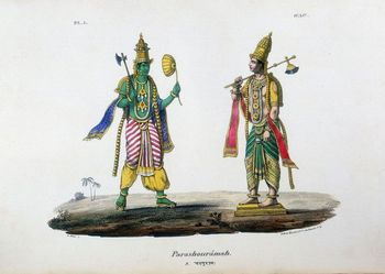 Lithograph depicting Hindu god Vishnu