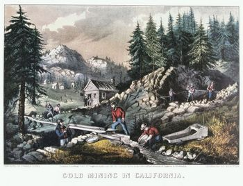 Courier and Ives lithograph depicting Gold Rush