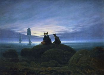 Painting of Moon Rise Over the Sea by Caspar David Friedrich