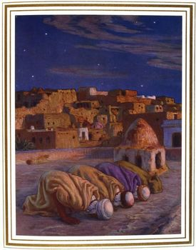 Painting depicting men prostrate in prayer