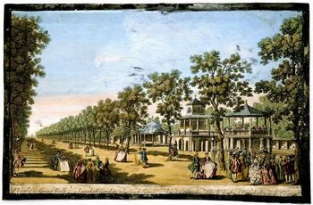 Engraving depicting Vauxhall Gardens in London