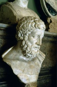 Bust of Greek philosopher Epicurus