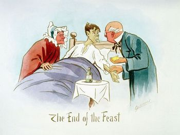 Cartoon of ill boy with doctor and nurse