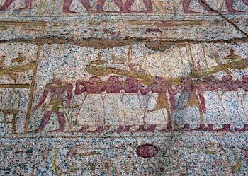 Mural on wall of temple at Luxor, Egypt