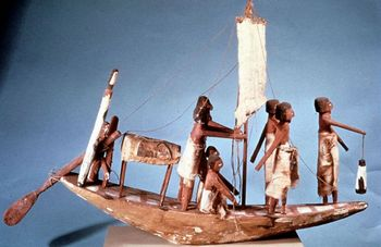 Wood replica of Egyptian funerary boat