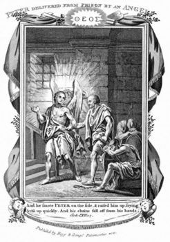 Rendering depicting angel delivering Peter from prison