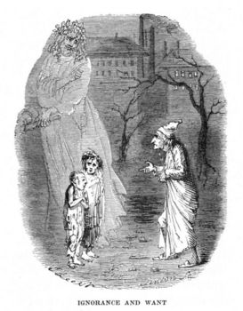 Ignorance and Want presented by a ghost appearing to Scrooge