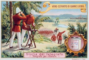 British soldiers using heliograph to signal distant fort