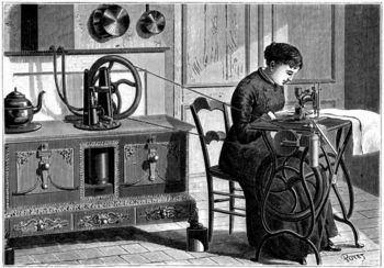Woman using steam engine to power sewing machine