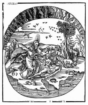 Woodcut depicting God creating Eve from Adam