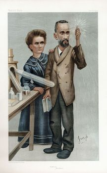 Cartoon portrait of Pierre and Marie Curie