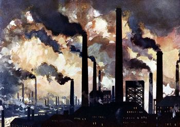 Factory chimneys pouring out polluted smoke