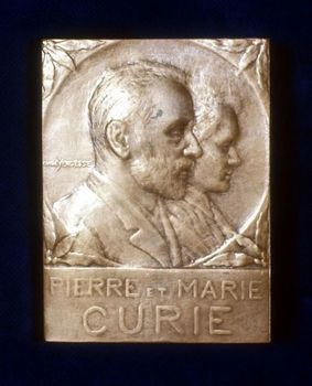 Cememorative plaque for French scientists Marie and Pierre Curie