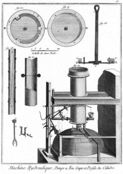 Cross section of the Newcomen-type steam engine