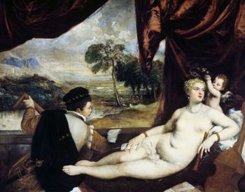 Venus and the lute player painting by Titian
