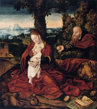 The rest on the flight to Egypt painting by Barend van Orley