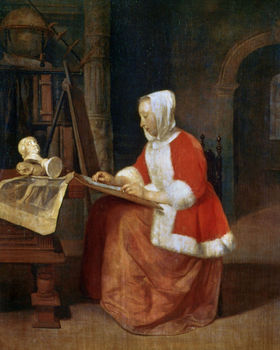 A Woman seated Drawing, 17th century, painting