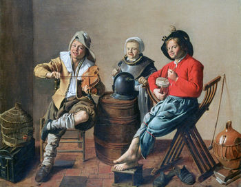 Two Boys and a Girl making Music, 17th century, painting