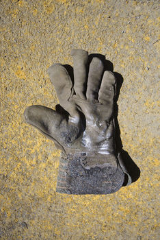 Old leather work glove