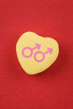 Candy heart with male symbols