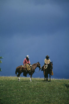 Cowboys riding horses in field