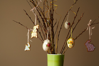 Easter ornaments on twigs in vase