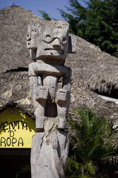Carved totem in tropical island village