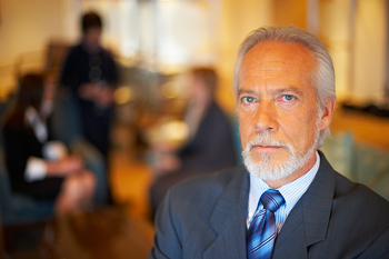Businessman posing with serious expression