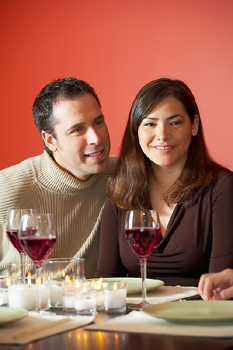 Couple at dinner party