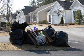 Garbage in neighborhood ready for pick-up