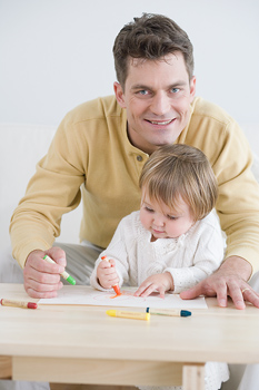 Father and daughter coloring