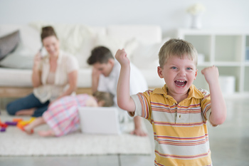 Excited boy and family