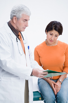 Doctor and patient with file