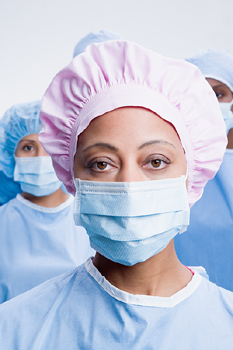 Surgeons in surgical attire