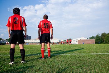 Back view of soccer players