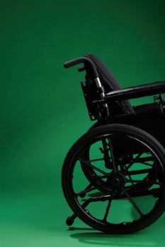 Cropped side view of wheelchair