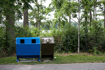 Bear-proof trash cans in park