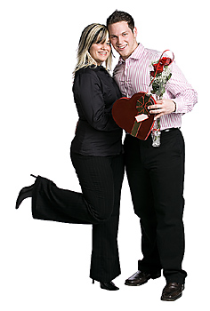 Couple posing with valentines gifts
