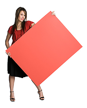 Woman posing with pink board