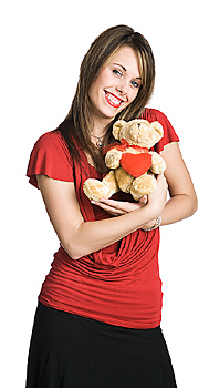 Woman posing with teddy bear