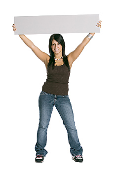 Young woman posing with board