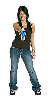 Young woman posing with bottle of water