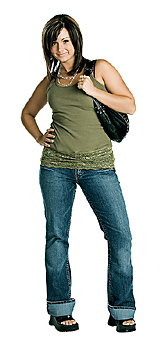 Young woman posing with purse