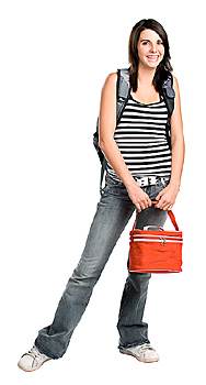 Young woman with backpack and lunch bag