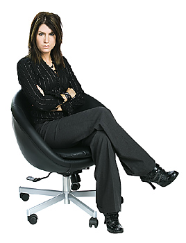 Woman with attitude sitting in chair