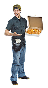 Pizza delivery man holding pizza box