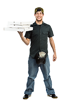 Pizza delivery man holding pizza boxes