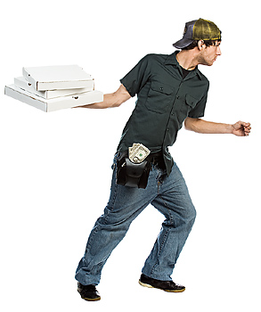 Pizza delivery man running with pizza boxes