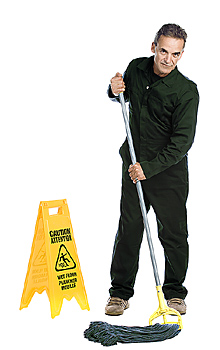Janitor mopping floor