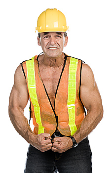 Construction worker flexing his muscles
